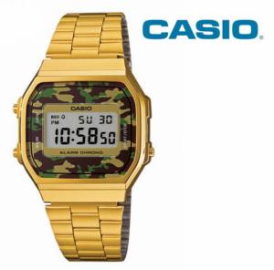 Relógio Casio® Vintage Dourado Camuflado Verde A168WG