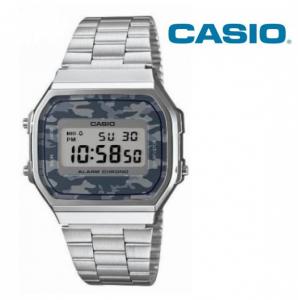 Relógio Casio® Vintage Prateado Camuflado Cinza A168WE