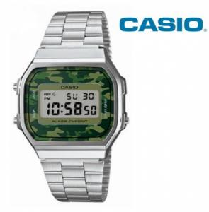 Relógio Casio® Vintage Prateado Camuflado Verde A168WE