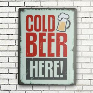 Chapa Vintage Cold Beer Here | 30 x 40 cm