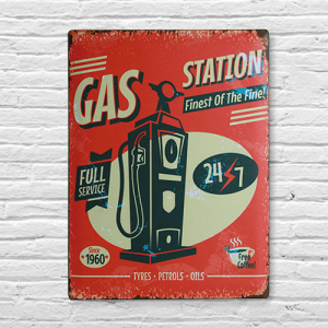 Chapa Vintage Posto de Gasolina | 30 x 40 cm