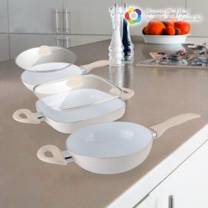 Panelas de Cerâmica Chef Pan Elegance 5 Peças l Design Único|Limpeza Fácil|Ergonómicas