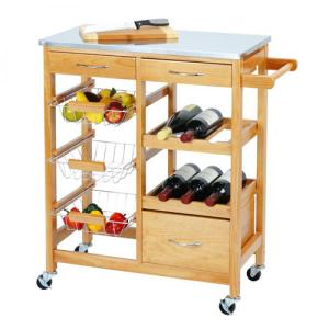 Carrinho de Cozinha em Madeira | Muito útil para Armazenar e Organizar Alimentos