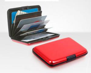 Carteira Vermelha em Alumínio Porta Cartões