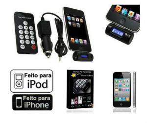 Transmissor FM Para Iphone e Ipod's C | Comando l Disponível em Preto ou Branco