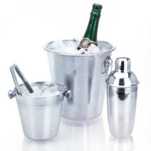 Conjunto Baldes de Gelo e Cocktail Shaker | Aço Inoxidável | 4 Peças