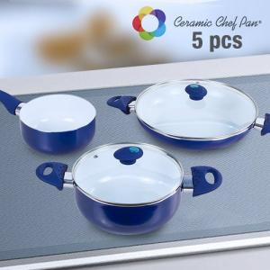 Trem de Cozinha de Cerâmica Chef Pan 5 peças | Disponível em Vermelho ou Azul !