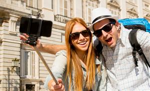Monopé Selfies Telescópico para Telemóveis e Câmeras 3 Cores