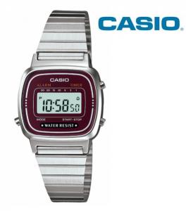 Relógio Casio® LA670 WA Prata | Vermelho