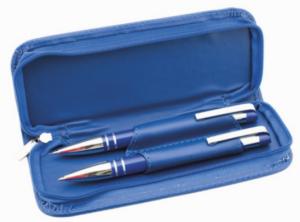 Conjunto Caneta e Lapiseira Azul em Pele Sintética | Escrita Azul