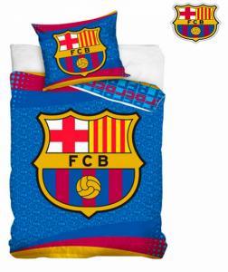 FC Barcelona | Jogo de Cama Escudo 160 x 200cm | Capa de Edredão + Fronha | Produto Licenciado