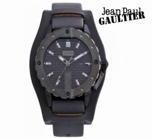 Relógio Jean Paul Gaultier® Bracelete em Pele Preta | Data