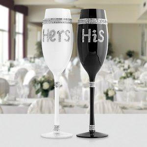 2 Copos de Champanhe His & Hers | Copos de Cristal com Design Romântico e Nupcial
