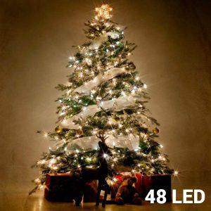 48 Luzes Brancas Led | 8 Opções de Luz Para Interiores e Exteriores | Sem Ligação a Corrente | Comp 4,1 mts