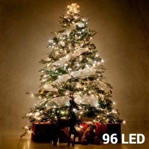 96 Luzes Brancas Led | 8 Opções de Luz Para Interiores e Exteriores | Sem Ligação a Corrente | Comp 7,7 mts