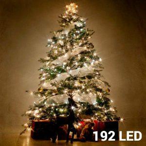 192 Luzes Brancas Led | 8 Opções de Luz Para Interiores e Exteriores |Sem Ligação a Corrente | Comp 14,8mt