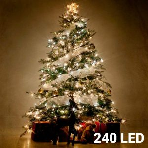 240 Luzes Brancas Led | 8 Opções de Luz Para Interiores e Exteriores | Sem Ligação a Corrente | Comp 29 mts