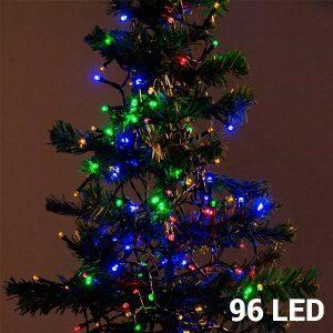 96 Luzes Multicolor Led | 8 Opções de Luz Para Interiores e Exteriores | Sem Ligação a Corrente | Comp 7,5 mts