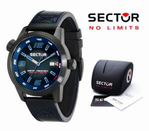 Relógio Sector® Men's Oversize Desportivo Bracelete Pele Preta