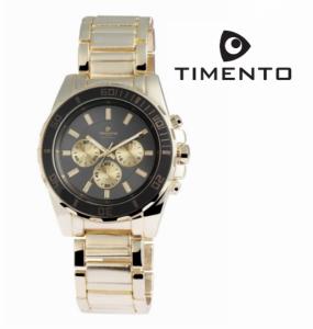 Relógio Timento Dourado Preto 3ATM