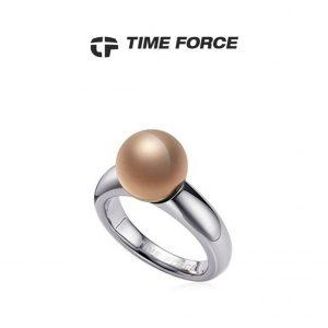 Time Force® Anel Feminino Prateado Aço 17,8mm TS5054S14