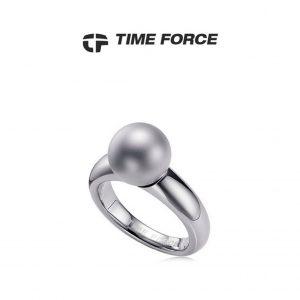 Time Force® Anel Feminino Prateado Aço 17,8mm TS5055S16