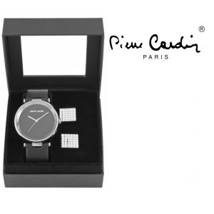Conjunto Pierre Cardin® Black & Gray Classic | Relógio | 2 Botões de Punho