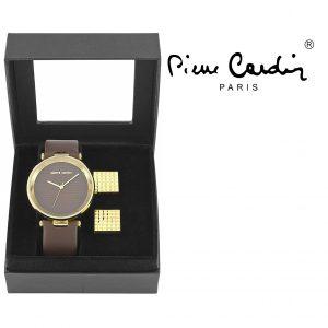 Conjunto Pierre Cardin® Classic Brown & Gold | Relógio | 2 Botões de Punho