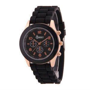Relógio Cheeky Gold Black I Bracelete de Silicone