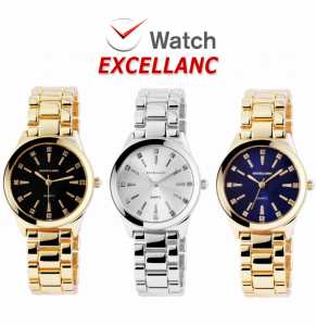 Watch Excellanc Unisex Display Black | White | Blue | Quartz Movement High Quality!