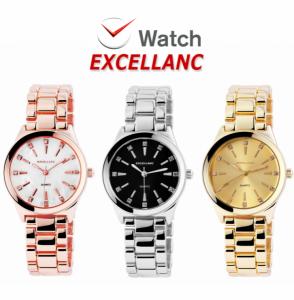 Relógio Excellanc Mostrador Branco I Preto I Dourado I Movimento Quartzo de Alta Qualidade