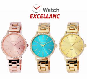Relógio Excellanc Woman Com Pedras e Mostrador Rosa Gold I Azul I Dourado I Movimento Quartzo de Alta Qualidade