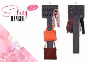 Organizador de Bolsas e Acessórios Shiny Hanger Glam Cor Preto | Frente e Verso