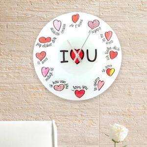 Relógio de Parede I Love You | 12 Línguas Diferentes
