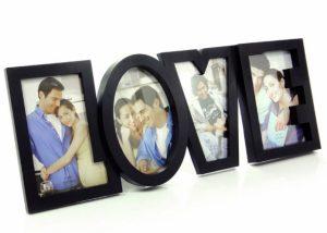 Moldura Love C/Espaço Para 4 Fotografias | Disponível em Preto
