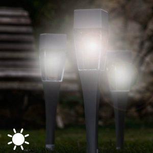 Conjunto 4 Luzes Solares com Fotocelulas