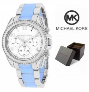 Relógio Michael Kors® Blair Prateado & Azul Cronógrafo