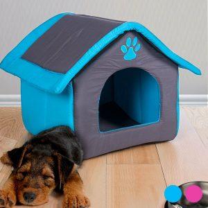 Casa em Tecido Para Animais | 2 Cores Azul ou Rosa | Cómoda e Confortável
