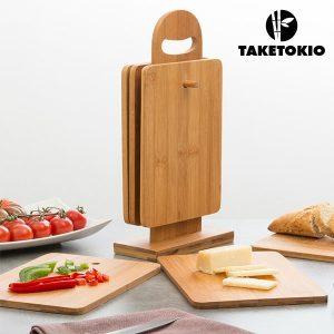 TakeTokio |  Conjunto de Tábuas de Cozinha em Bambú C/Suporte