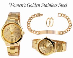 Conjunto 3 Peças   Relógio Donna Kelly + Pulseira e Brincos em Aço Inoxidável Banhados em Ouro