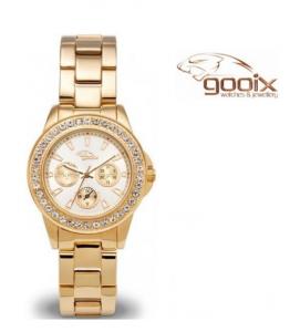 Relógio Gooix® Adissa Bling Dourado | Mostrador Branco | 5ATM