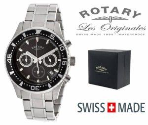 Relógio Rotary Switzerland® Men´s Cronógrafo Prateado & Preto