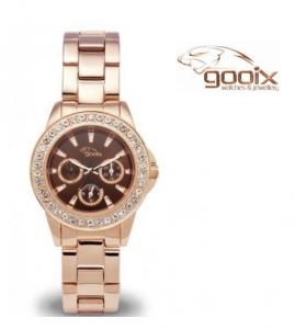 Relógio Gooix® Adissa Bling Dourado Rosa | Mostrador Castanho | 5ATM
