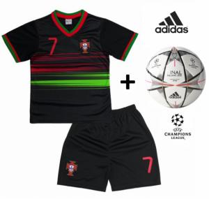 Adidas Bola Oficial + Conjunto Portugal Réplica Camisola E Calções Pretos Criança