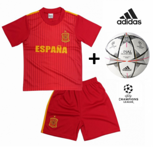 Adidas Mini Bola Oficial + Conjunto Espanha Réplica Camisola E Calções Criança
