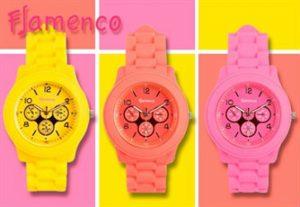 Pack 3 Relógios Flamenco Amarelo I Rosa e Coral Submersível até 30MT