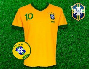 Brasil Camisola Adulto Réplica Bordada de Equipamento