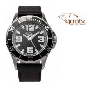 Relógio Gooix® Merek Bracelete em Couro Preto I Mostrador Preto I 10ATM