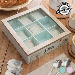 Caixa de Chá Flower Vintage Coconut | Interior Rosa ou Azul