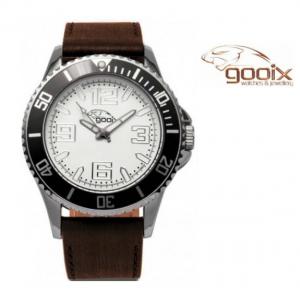 Relógio Gooix® Merek Bracelete em Couro Castanho I Mostrador Branco I 10ATM